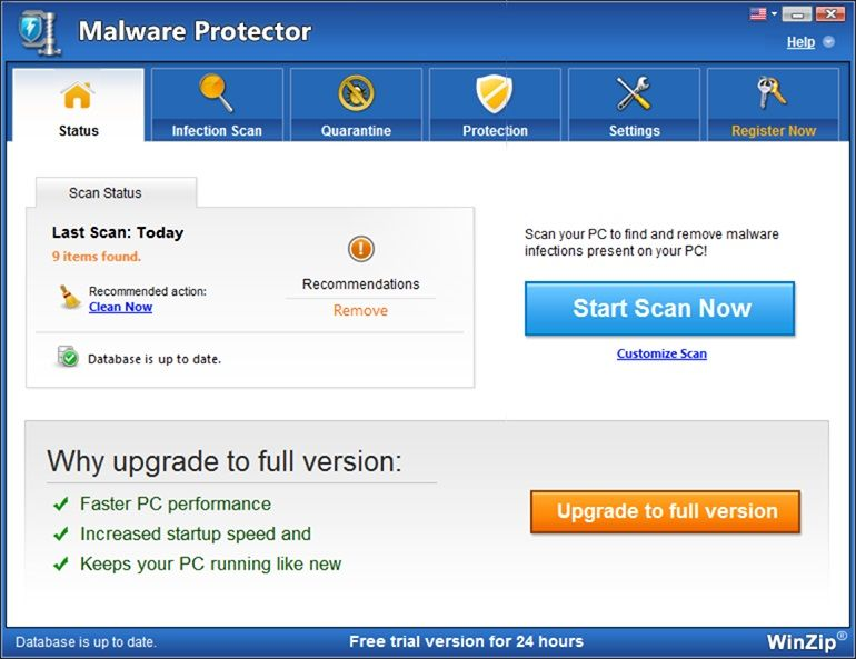 Pantallazo WinZip Malware Protector