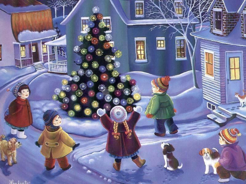 Pantallazo Fondo Niños alrededor del árbol