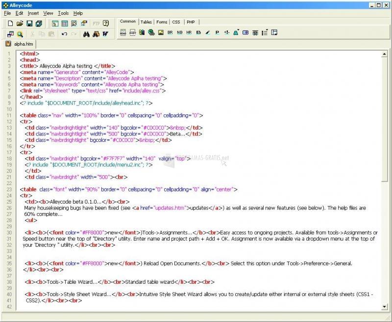 Pantallazo AlleyCode HTML Editor