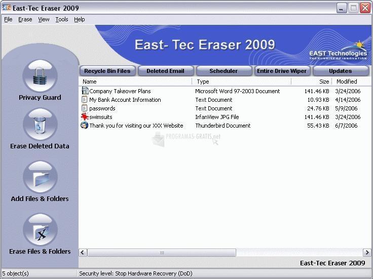 Pantallazo Eras-Tec Eraser