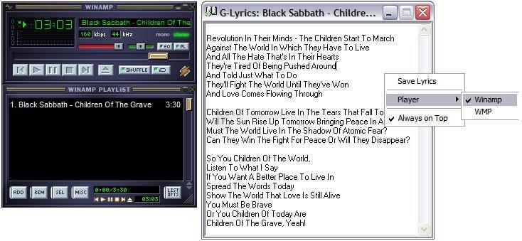 Pantallazo G-Lyrics