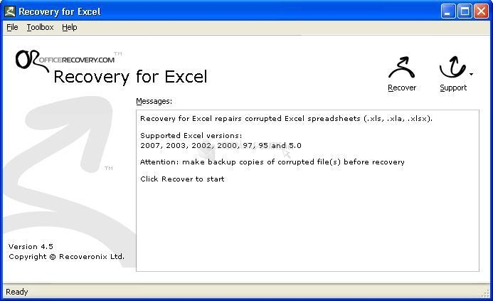 Pantallazo Recovery for Excel