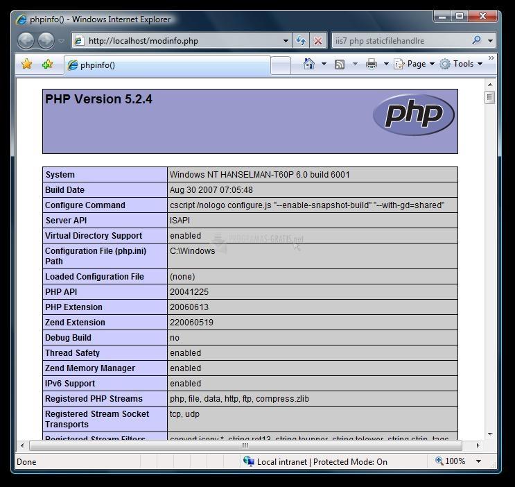 Pantallazo PHP