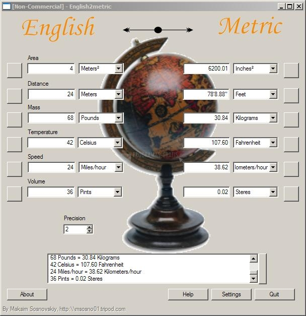 Pantallazo English2Metric