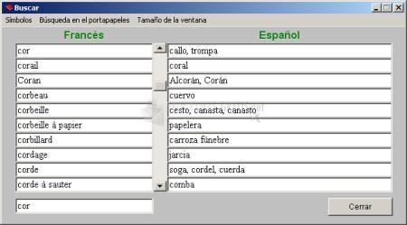 Pantallazo Diccionario Freelang Inglés-Español