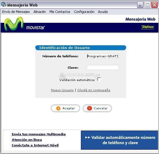 Pantallazo Mensajería Web Movistar
