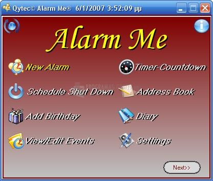 Pantallazo Alarm Me