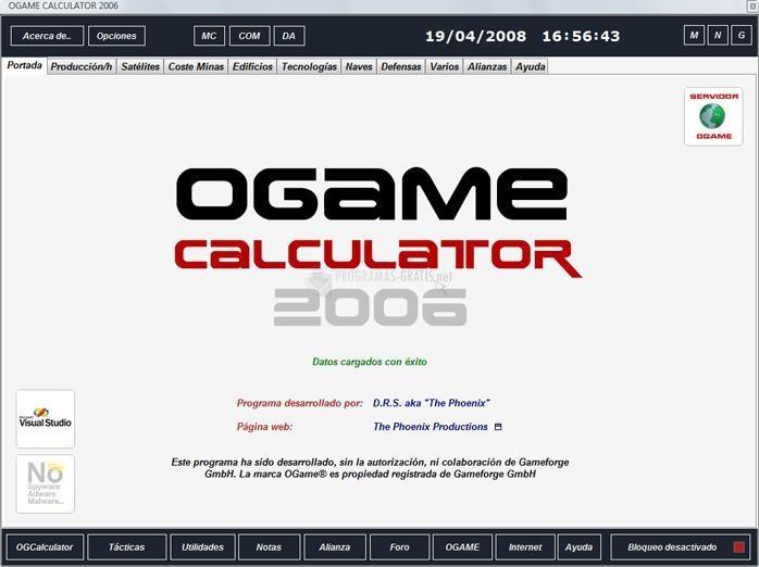 Pantallazo Ogame Calculator