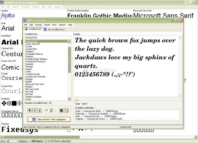 Pantallazo AMP Font Viewer