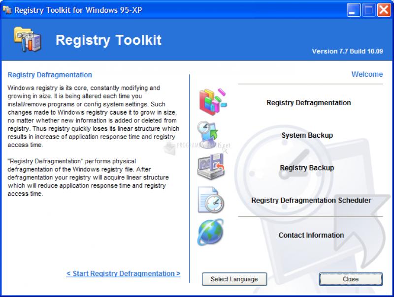 Pantallazo Registry Defragmentation