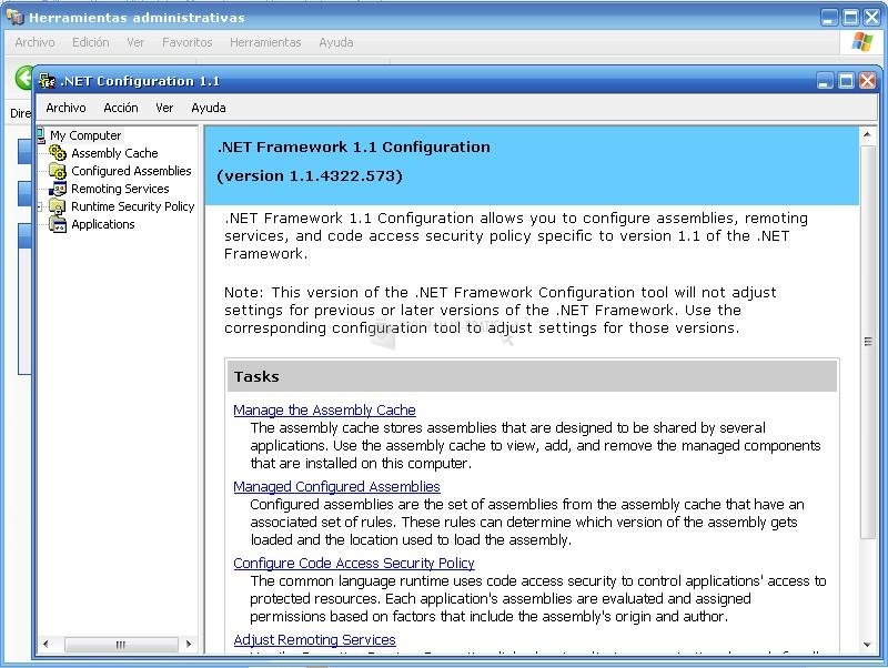 Pantallazo Microsoft .NET Framework