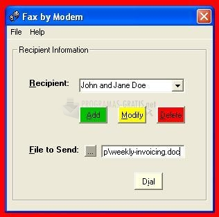 Pantallazo Fax by Modem