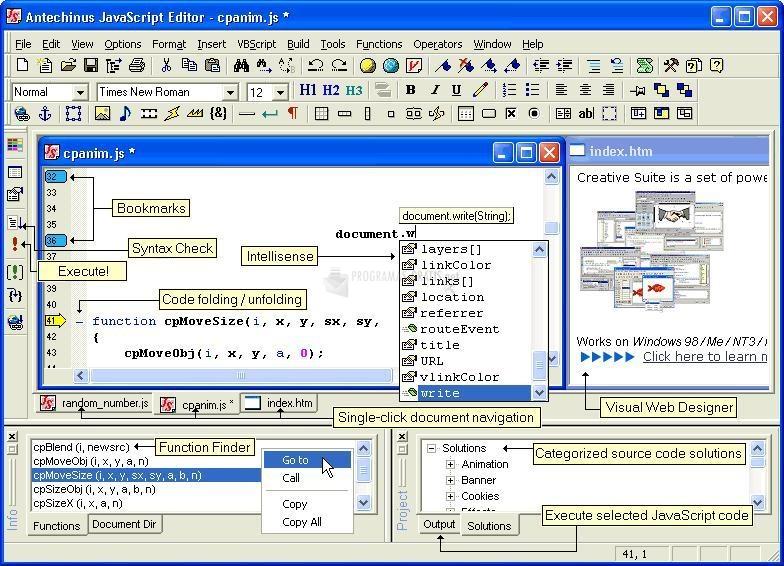Pantallazo Antechinus JavaScript Editor