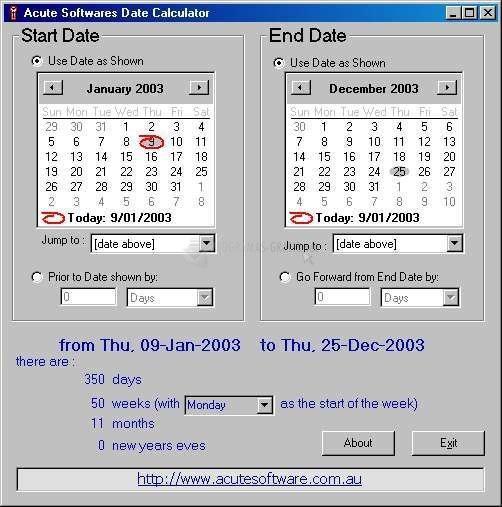 Pantallazo Date Calculator