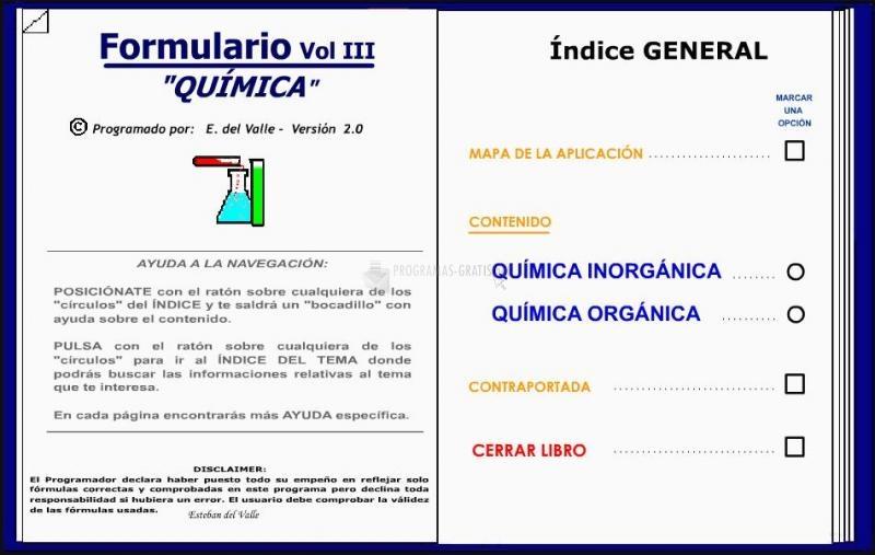 Pantallazo Formulario Química vol. III