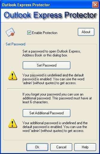 Pantallazo Outlook Express Protector
