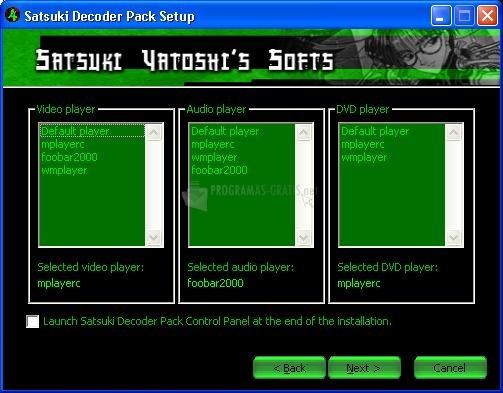 Pantallazo Satsuki Decoder Pack