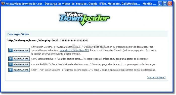 Pantallazo Firefox Video Downloader