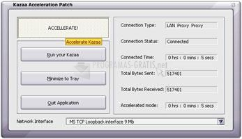 Pantallazo Kazaa Acceleration Patch