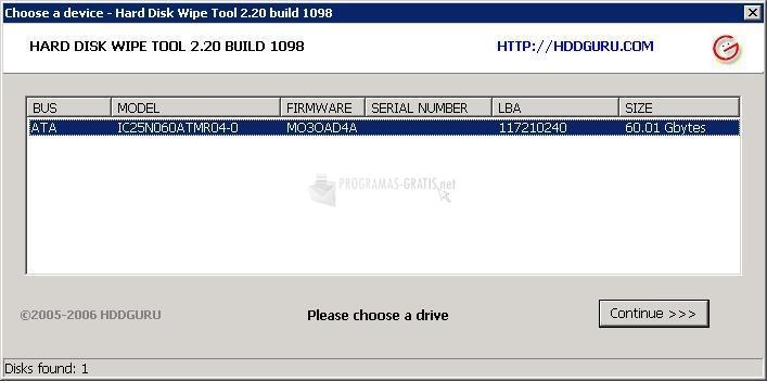 Pantallazo HDD Wipe Tool