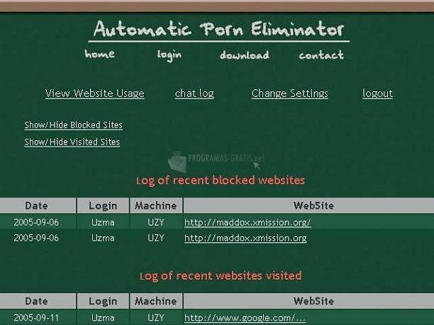 Pantallazo APE (Automatic Porn Eliminator)
