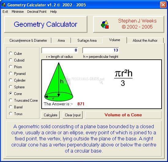 Pantallazo Geometry Calculator