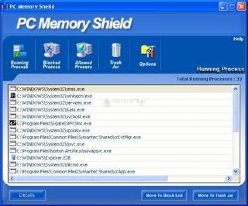 Pantallazo PC Memory Shield