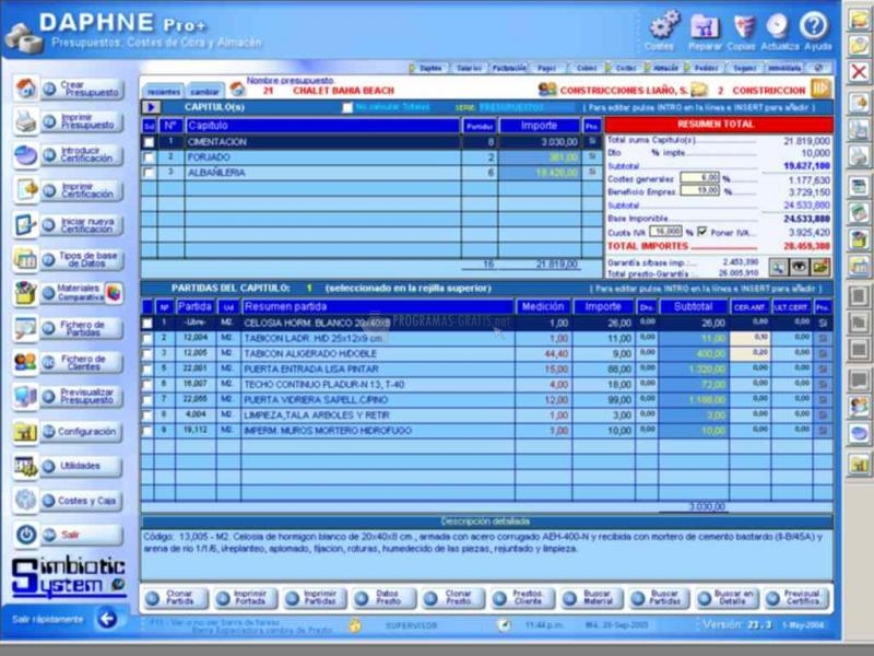 Pantallazo DAPHNE Presupuestos Coste y Salarios