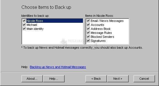 Pantallazo Outlook Express Backup Wizard