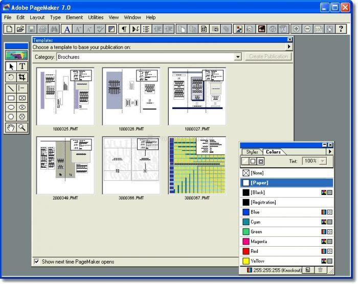Pantallazo Adobe Pagemaker