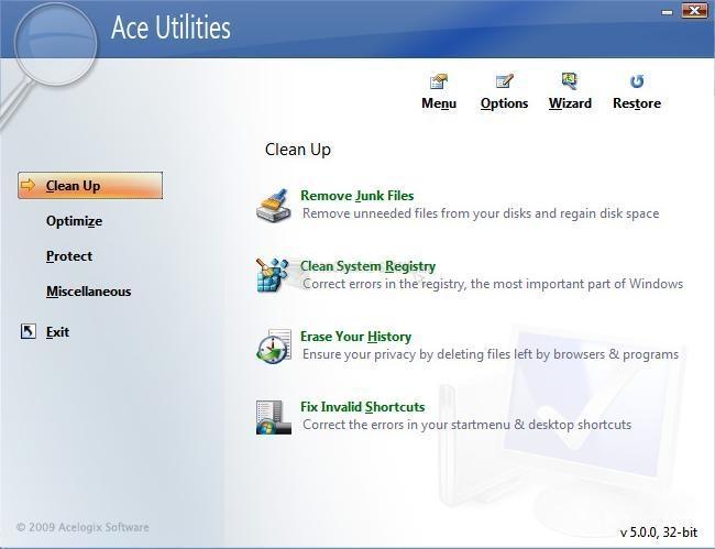 Pantallazo Ace Utilities