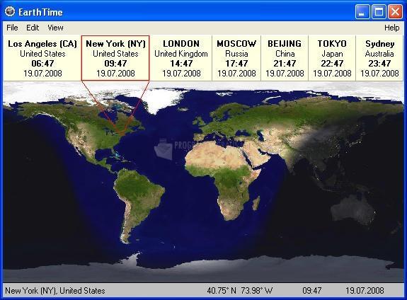 Pantallazo Earth Time
