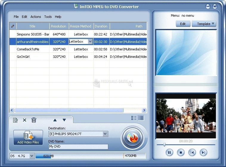 Pantallazo ImTOO MPEG to DVD Converter