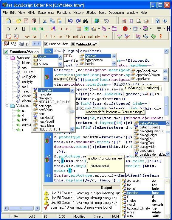 Pantallazo 1st JavaScript Editor Pro