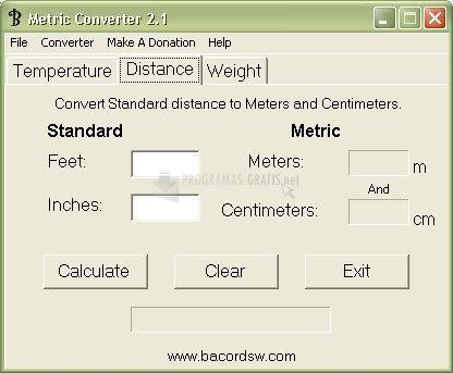 Pantallazo Metric Converter