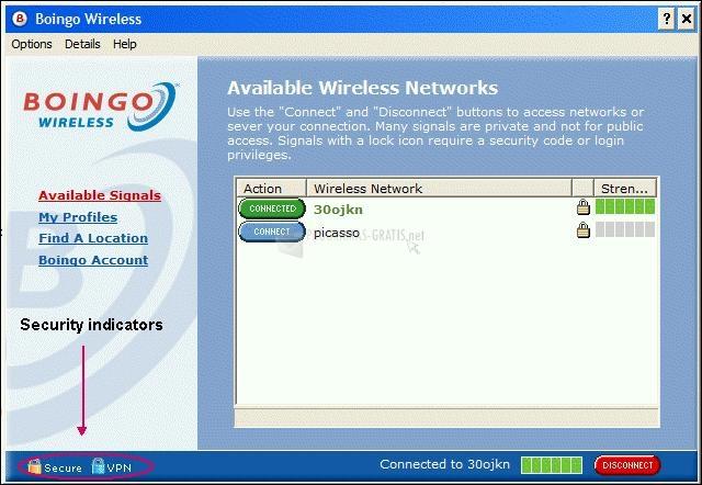 Pantallazo Boingo Wireless