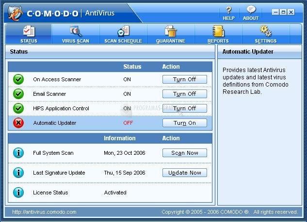 Pantallazo Comodo Antivirus
