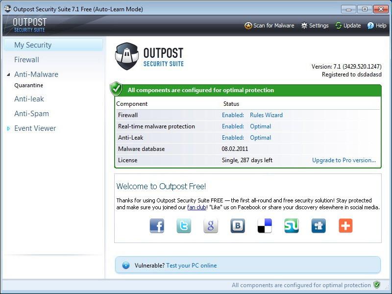 Pantallazo Outpost Firewall Free