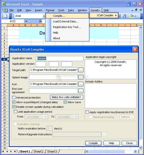 Pantallazo DoneEx XCell Compiler