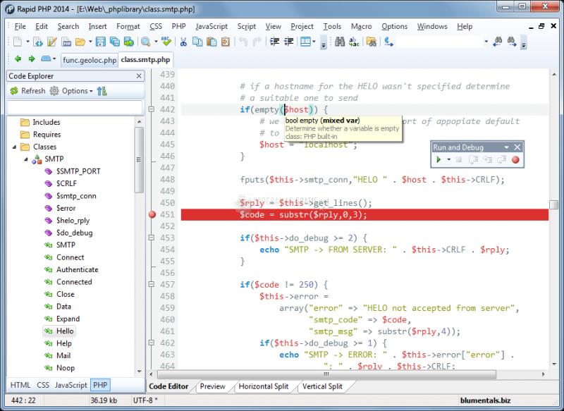 Pantallazo Rapid PHP Editor