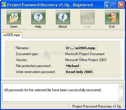 Pantallazo Project Password Recovery
