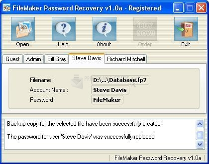 Pantallazo FileMaker Password Recovery