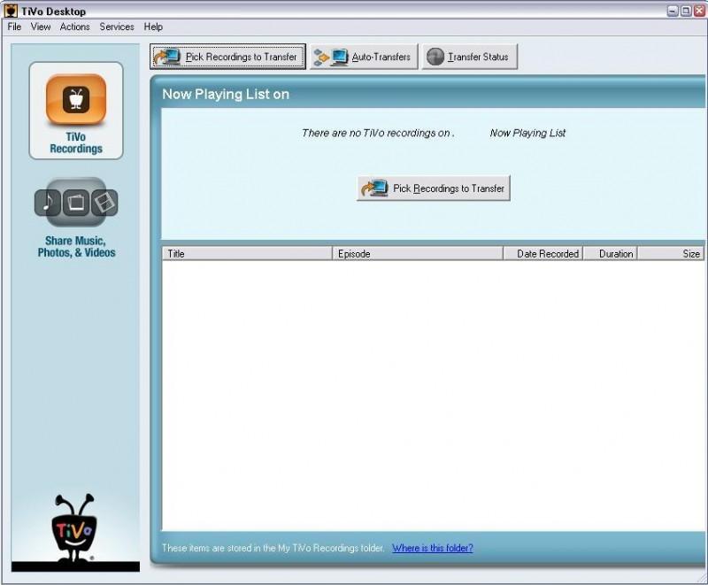 Pantallazo TiVo Desktop
