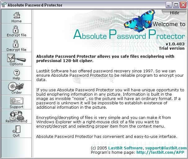 Pantallazo Absolute Password Protector