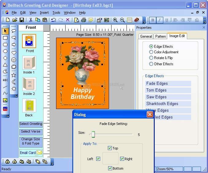 Pantallazo Greeting Cards Designer