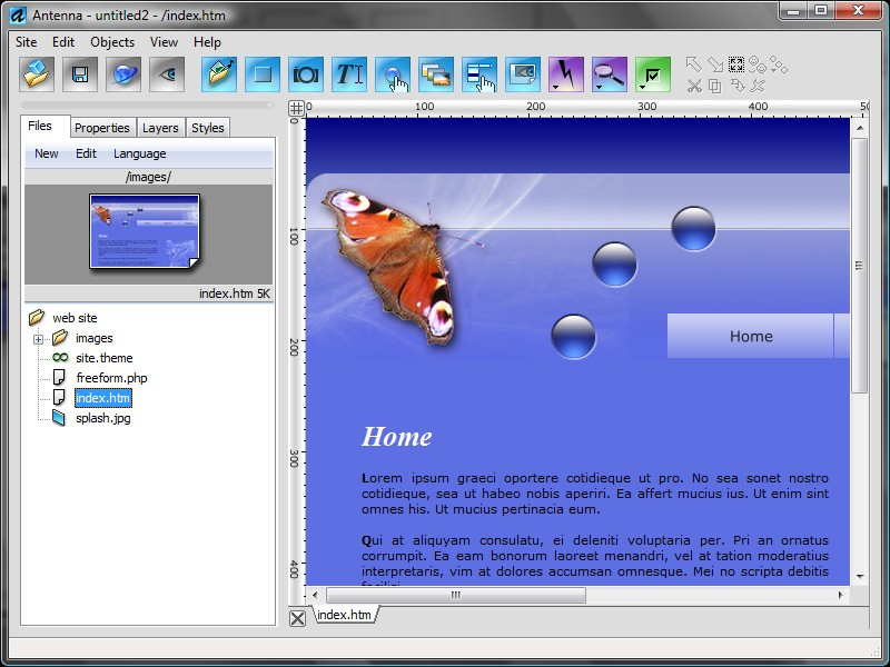 Pantallazo Antenna Web Design Studio
