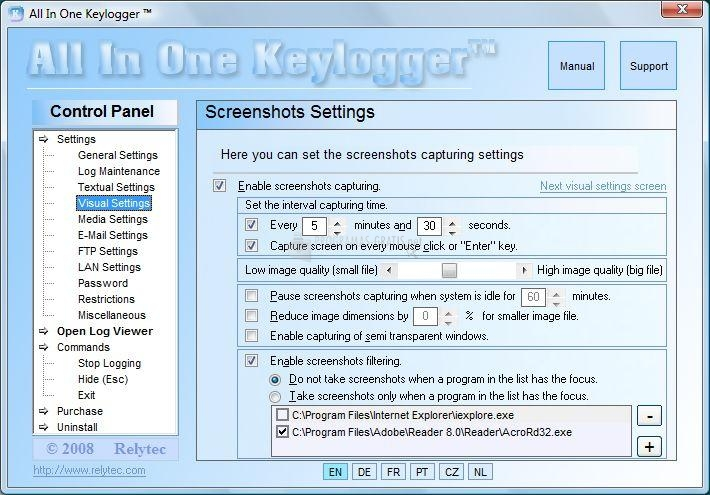 Pantallazo All in One Keylogger