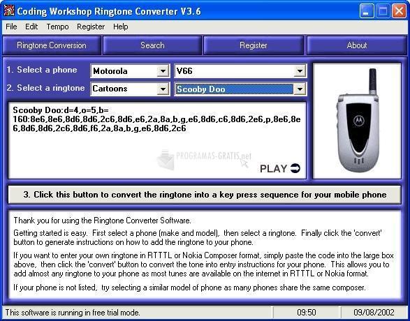 Pantallazo Coding WorkShop RingTone Converter
