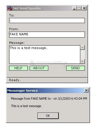 Pantallazo Net Send Spoofer
