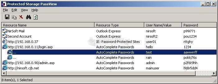Pantallazo Protected Storage PassView